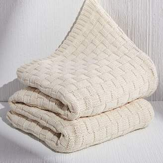 west elm Made*Here New York 100% Cotton Not So Basic Basketweave Throw