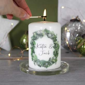 Morgan Olivia Ltd Personalised Couples Wreath Christmas Candle