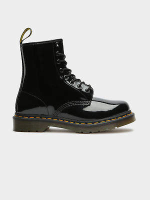 Dr. Martens New Womens 1460 Lace Up Boots In Black Patent Lamper Boots