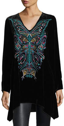 Johnny Was Aurelia Velvet Embroidered Tunic, Plus Size