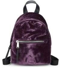 French Connection Top Zip Mini Velvet Backpack