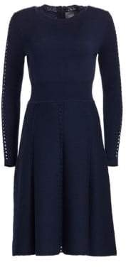 Lela Rose Women's Wool Long-Sleeve Flare Dress - Navy - Size Medium