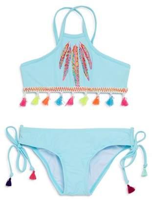 Pilyq Girls' Feather 2-Piece Swimsuit with Tassel Trim - Little Kid, Big Kid