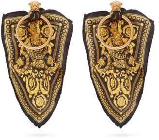 Versace Baroque Print Silk Tie Hoop Earrings - Womens - Gold