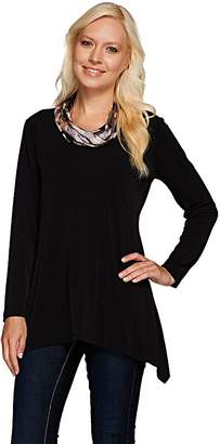 Susan Graver Liquid Knit Tunic with Printed Cowl Neck
