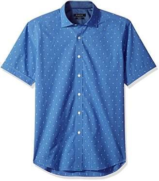 Bugatchi Men's Cut Dobby Cotton Fitted Short Sleeve Sport Shirt