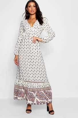 boohoo Ella Boarder Print Ruffle Hem Maxi Dress