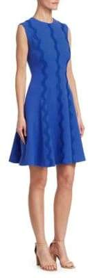 Lela Rose Wave-Trim A-Line Dress