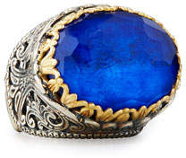 Konstantino East-West Oval Crystal Quartz Over Lapis Ring