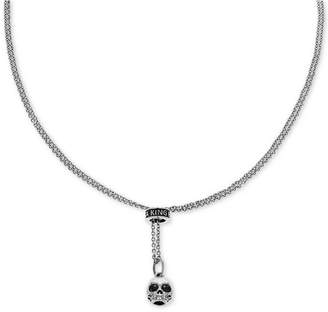 "King Baby Studio Unisex Hamlet Skull 26"" Adjustable Lariat Necklace in Sterling Silver"