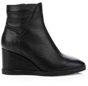 Aquatalia Women's Judy Weatherproof Leather Wedge Booties - Black - Size 5.5