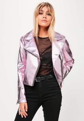 Missguided Pink Metallic Biker Jacket
