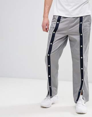 Asos Design DESIGN relaxed trousers in grey with front poppers