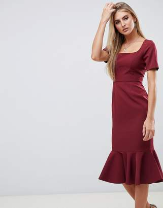 Asos DESIGN short sleeve midi pencil dress with pep hem