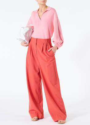 Tibi Tropical Wool Stella Wide Leg Paperbag Pants with Removable Belt