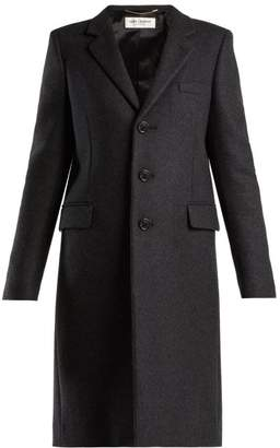 Saint Laurent Notch Lapel Single Breasted Wool Coat - Womens - Grey