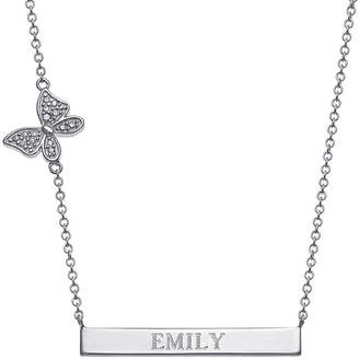 FINE JEWELRY Personalized Sterling Silver Diamond-Accent Butterfly Name Bar Necklace