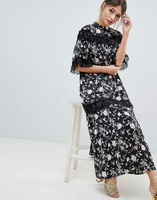 Liquorish Floral Maxi Dress With Lace Trim And Open Back
