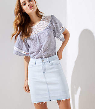LOFT Petite Frayed Denim Mini Skirt