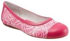 SoftWalk Napa Pattern Leather Cap Toe Ballet Flats