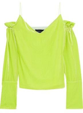 67b9fcbca73f49 COM · Michael Lo Sordo Cold-Shoulder Ruffle-Trimmed Neon Velvet Top