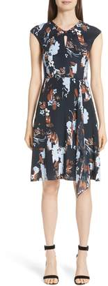 St. John Painted Floral Print Jersey Dress