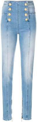 Balmain button-embellished skinny jeans