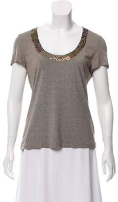Lafayette 148 Embellished Short Sleeve Top