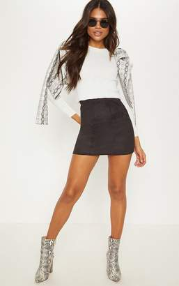 PrettyLittleThing Black Faux Suede Panel Detail Mini Skirt