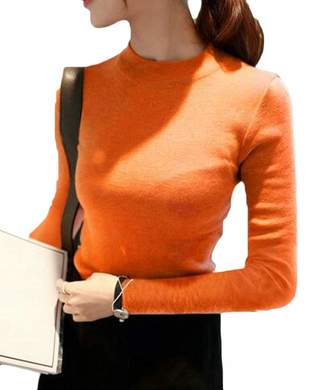 S-Fly Women Slim Fit Long Sleeve Tops Solid Turtleneck Pullover Sweaters OS