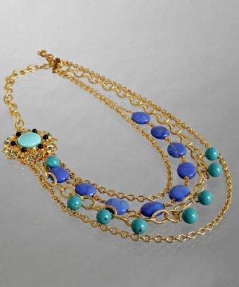 Rachel Reinhardt blue sunflower pendant layered necklace