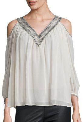 Love Sam Lace Trim Cold-Shoulder Top $245 thestylecure.com
