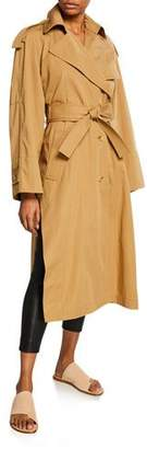 Vince Side-Split Long Cotton Trench Coat