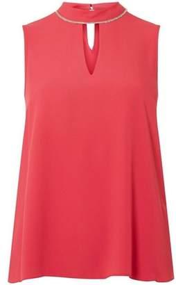 Dorothy Perkins Womens Pink Embellished Trim Top
