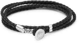 Tateossian Sterling Silver and Leather Double Wrap Bracelet
