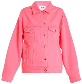 MSGM Oversized Denim Jacket - Womens - Pink