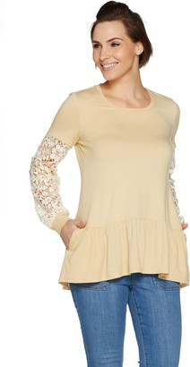 Logo By Lori Goldstein LOGO Lounge by Lori Goldstein French Terry Top with Crochet Sleeves