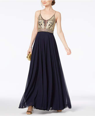 Xscape Evenings Embellished Embroidered Chiffon Gown