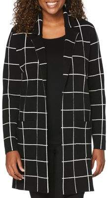 Rafaella Windowpane Open-Front Cardigan