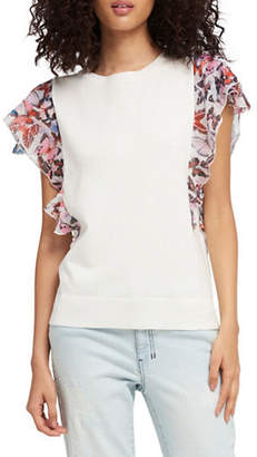 DKNY Short-Sleeve Ruffled Top