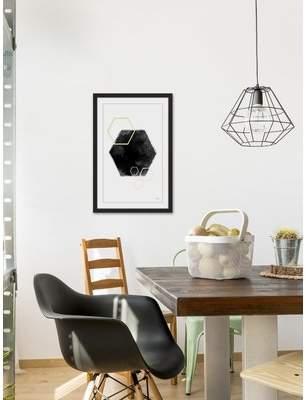 Wayfair 'Black Hole Hexagon II' Framed Watercolor Painting Print