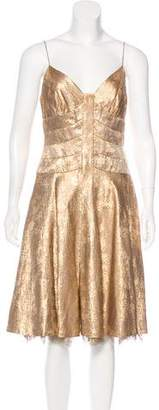 Carmen Marc Valvo Metallic Silk Midi Dress