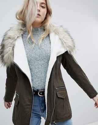 New Look Fur Lined Short Parka