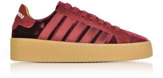 DSQUARED2 Burgundy Velvet And Satin Womens Sneakers