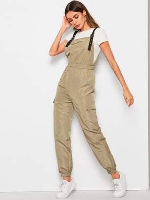 Shein Adjustable Strap Flap Pocket Jumpsuit