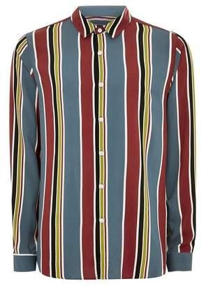 Topman Mens Multi Burgundy and Blue Stripe Long Sleeve Shirt