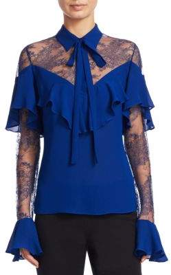 Elie Saab Crepe Lace Bell-Sleeve Top