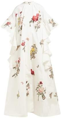 Biyan Rosamaria Floral Embroidered Silk Blend Coat - Womens - Ivory Multi