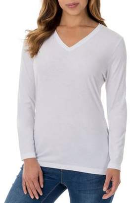 Faded Glory Women's Essential Long Sleeve Vneck T-Shirt