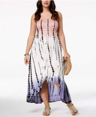 Raviya Plus Size Printed Tube Dress Ruffled Cover-Up